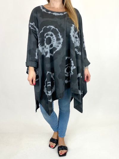 Lagenlook Margot Tie-dye Top in Charcoal. code 8407.