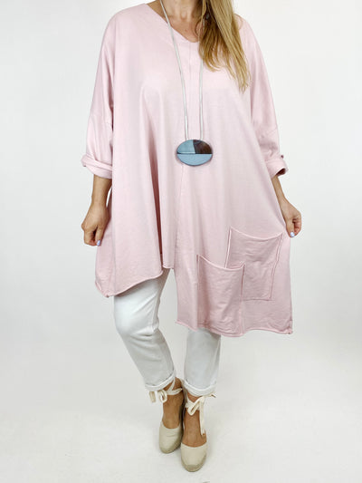Lagenlook Jamie V- Neck Double Pocket Top in Pale Pink. 91225.