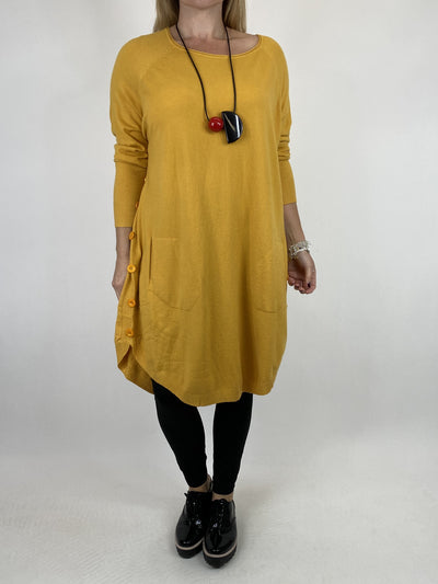 Lagenlook Amelie Button Side Jumper in Mustard. code 2560.