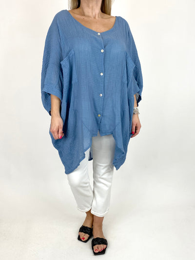 Lagenlook Audrey Cotton Button top in Denim. code 90013.