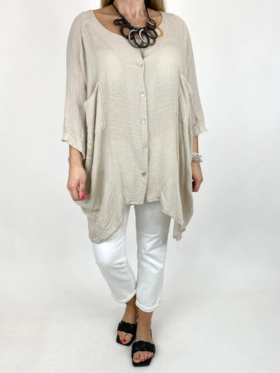 Lagenlook Audrey Cotton Button top in Cream. code 90013.