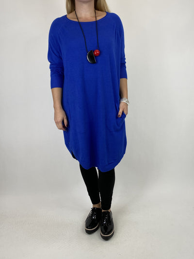 Lagenlook Amelie Button Side Jumper in Royal Blue. code 2560.
