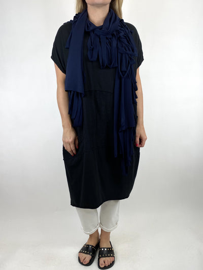 Lagenlook Ladder Scarf Wrap in Navy. code bc2.