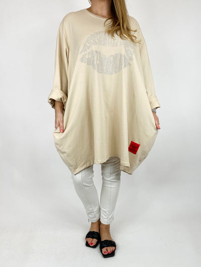 Lagenlook The Kiss Cotton Sweatshirt in Cream. code 91199.
