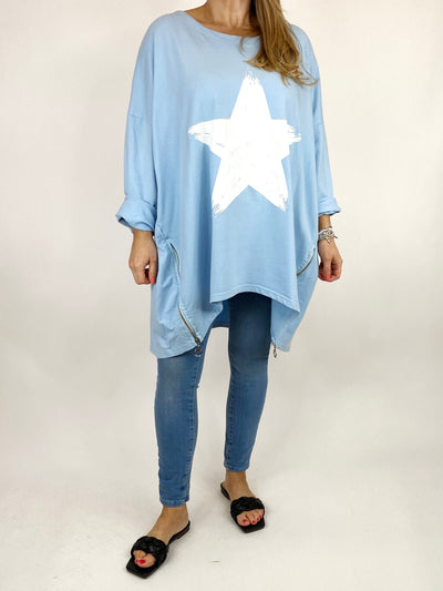 Lagenlook Brightest Star Print Sweatshirt Top in Sky. code 10469.