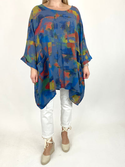 Lagenlook Artist Patterned Summer Top in Denim. code 10077.