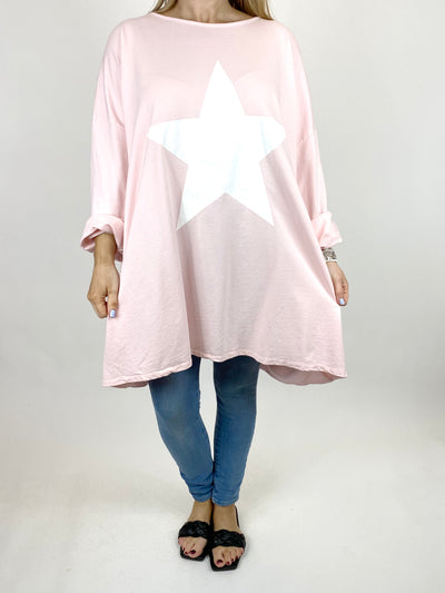 Lagenlook Solo Star Print Sweatshirt Top Tunic in Baby Pink. Code 9482.