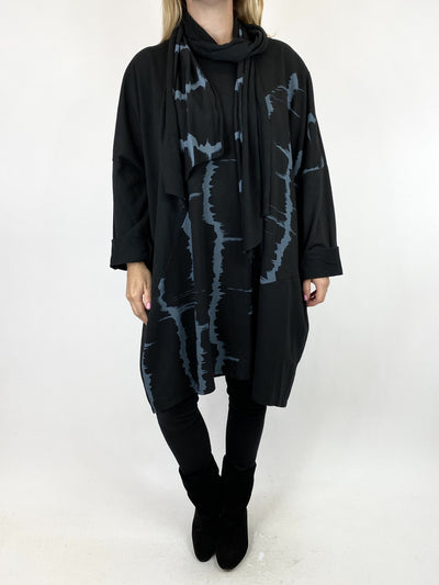 Lagenlook Dippy Scarf Sweatshirt in Black. code 10511.