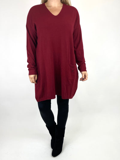 Lagenlook Jute Pocket V-neck Jumper in Wine. code 2712.