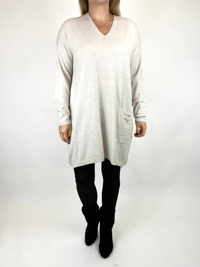 Lagenlook Jute Pocket V-neck Jumper in Cream. code 2712.