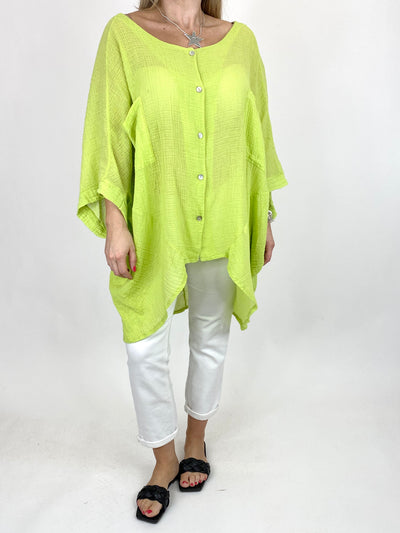 Lagenlook Audrey Cotton Button top in Lime. code 90013.