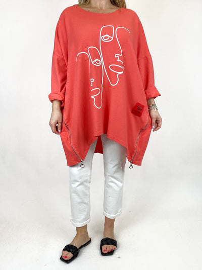 Lagenlook New Reflection Sweatshirt in Coral .code 10469.