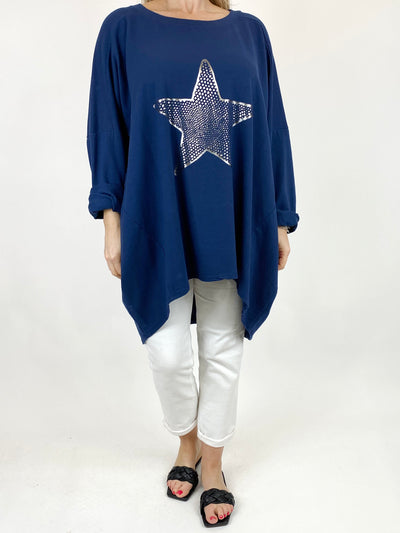 Lagenlook Dot Star sweatshirt in Navy. code 50303.