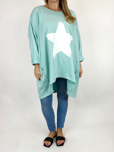Lagenlook Brightest Star Print Sweatshirt Top in Mint. code 10469.