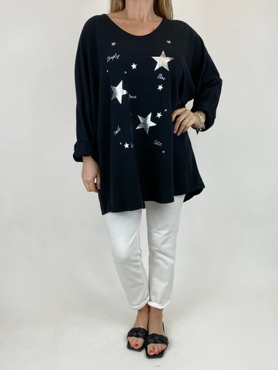 Lagenlook Mini Stars V- Neck Top in Black. code 50300.