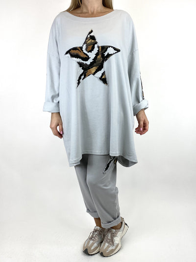 Lagenlook Animal Star Sweatshirt Top in Pale Grey. Code 9953.