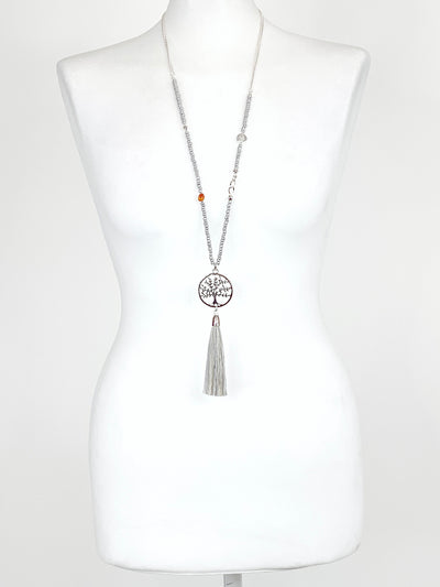 Lagenlook beach Tree of life Tassel Necklace .code R2853.