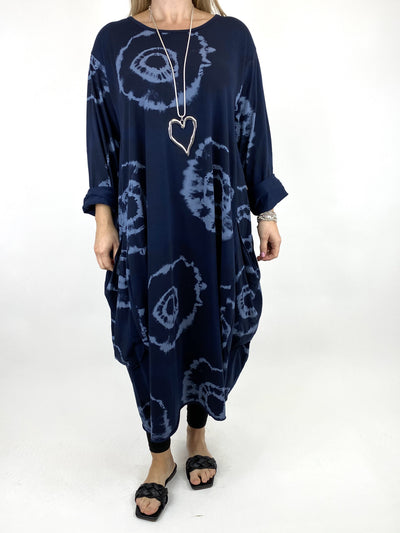 Lagenlook Celeste Tie-dye Side Pocket Tunic in Navy .code 9904.