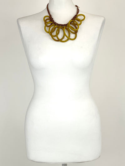 Lagenlook Statement Wanderlust Hoop Short Necklace in yellow. Code BC-133.