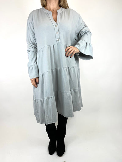 Lagenlook Olivia Frill V- Neck Top in Pale Grey. code 10538.
