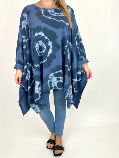 Lagenlook Margot Tie-dye Top in Denim. code 8407.