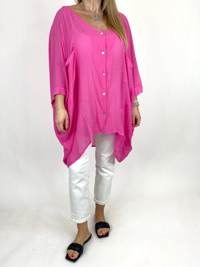 Lagenlook Audrey Cotton Button top in Fuchsia . code 90013.