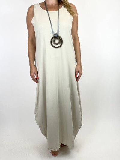 Lagenlook Babs Cotton Plain Tunic Dress in Cream.code 91112.