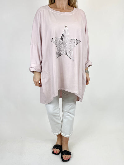 Lagenlook Dot Star sweatshirt in Pale Pink. code 50303.