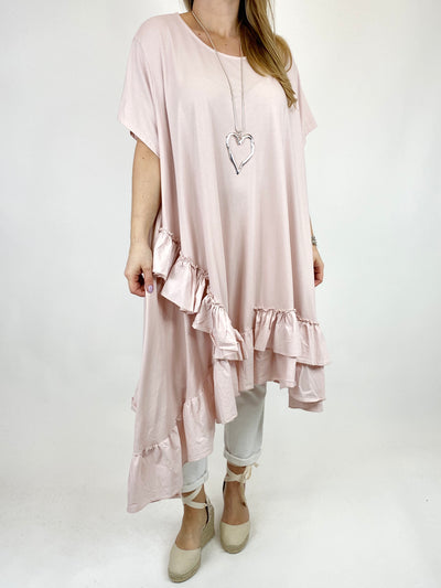Lagenlook Madison Frill Tunic in Pale Pink. code 1672.