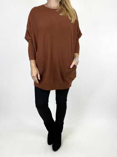 Lagenlook Piper Ribbed Plait Back Jumper in Rust. code 2658.