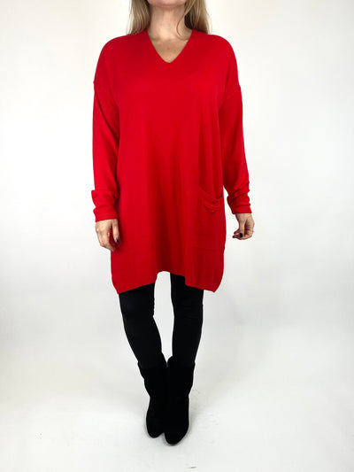 Lagenlook Jute Pocket V-neck Jumper in Red. code 2712.