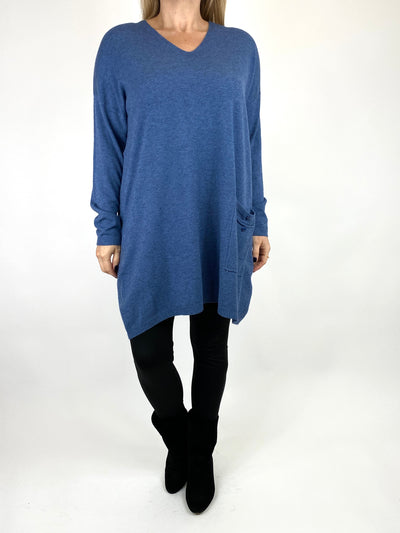 Lagenlook Jute Pocket V-neck Jumper in Denim. code 2712.