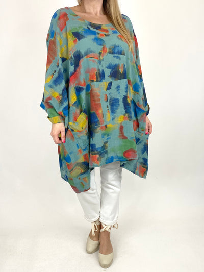 Lagenlook Artist Patterned Summer Top Sage. code 10077.