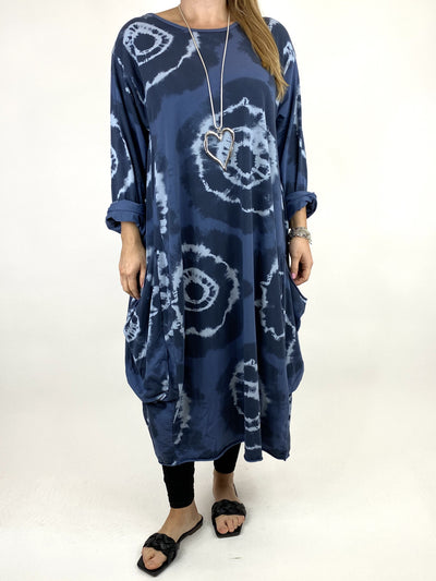 Lagenlook Celeste Tie-dye Side Pocket Tunic in Denim .code 9904.