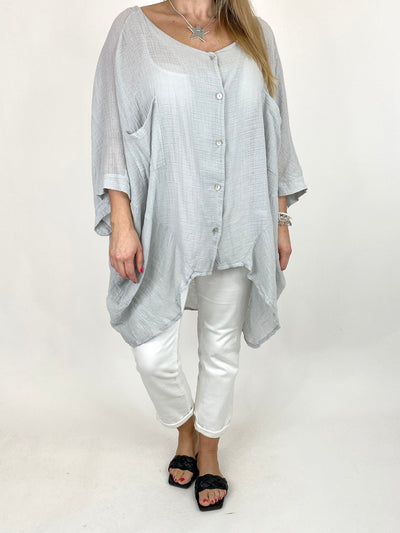 Lagenlook Audrey Cotton Button top in Pale Grey. code 90013.