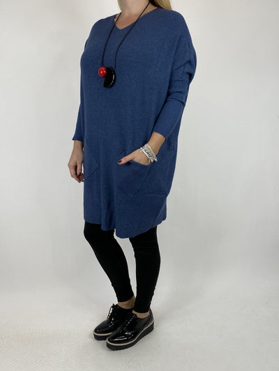 Lagenlook Diana V-neck Angled Pocket Jumper in Denim.  code 922.