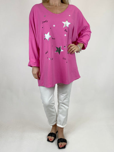Lagenlook Mini Stars V- Neck Top in Fuchsia. code 50300.