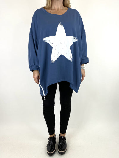 Lagenlook Star Zip Sweatshirt in Denim.code 91148.