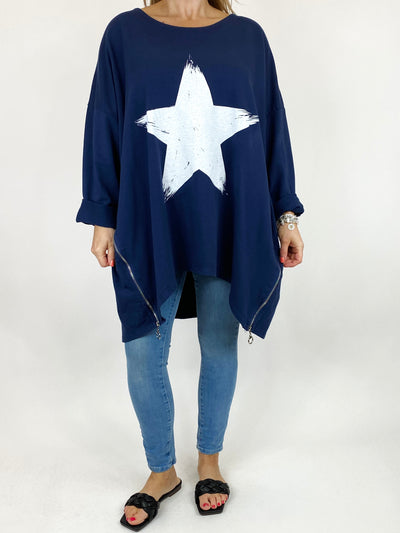 Lagenlook Brightest Star Print Sweatshirt Top in Navy. code 10469.