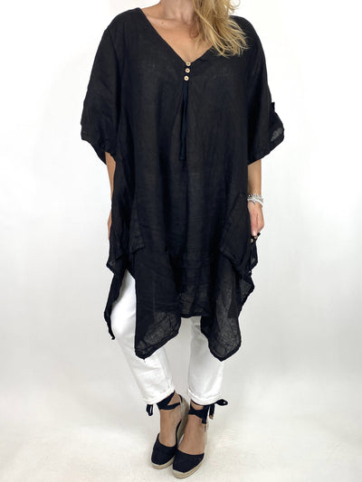 Lagenlook 3 button Linen Top in Black. code 6276.