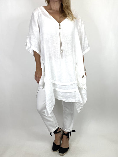 Lagenlook 3 button Linen Top in White.code 6276.