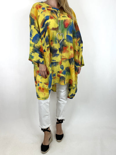 Lagenlook Artist Patterned Summer Top Yellow. code 10077.