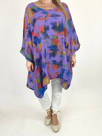 Lagenlook Artist Patterned Summer Top in Purple. code 10077.
