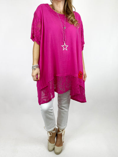 Lagenlook Nina lace Hem top in Fuchsia . code 91222.