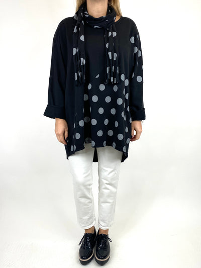 Lagenlook Molly Dot Print Scarf Top in In Black. code 10306.