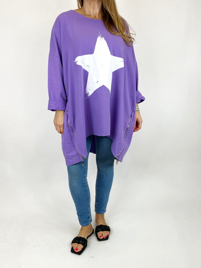 Lagenlook Brightest Star Print Sweatshirt Top in Lilac. code 10469.