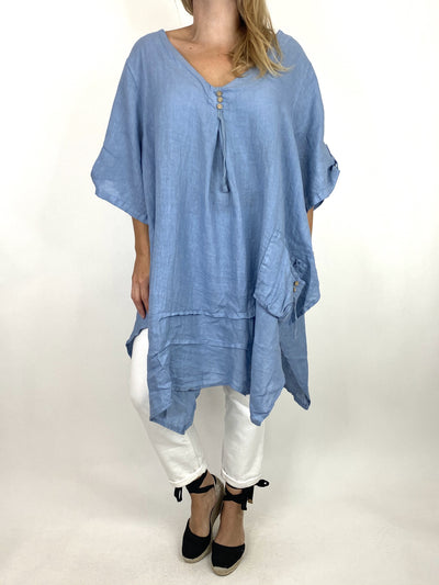 Lagenlook 3 button Linen Top in Denim. code 6276.