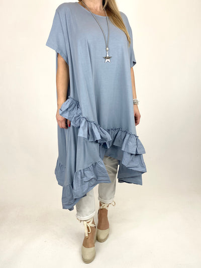 Lagenlook Madison Frill Tunic in Cloud Blue. code 1672.