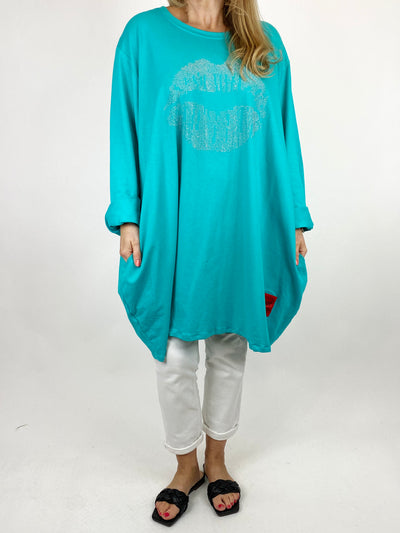 Lagenlook The Kiss Cotton Sweatshirt in Turquoise . code 91199.