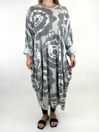 Lagenlook Celeste Tie-dye Side Pocket Tunic in Pale Grey .code 9904.